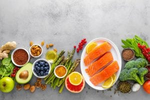 Healthy food background with salmon fish