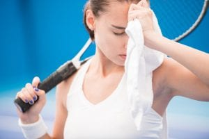 Tennis Player Wiping Sweat